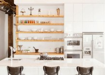 Industrial style kitchen with sleek, open wooden shelves