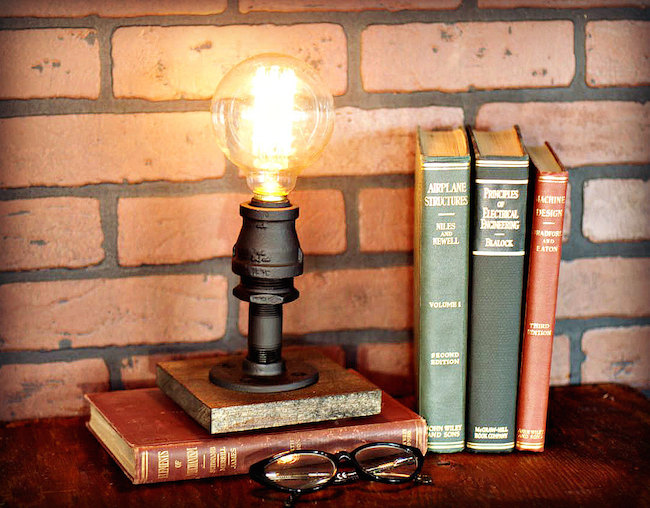 Industrial table accent lamp from Illuminology on Etsy