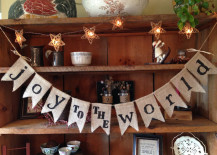 Joy to the World burlap holiday banner