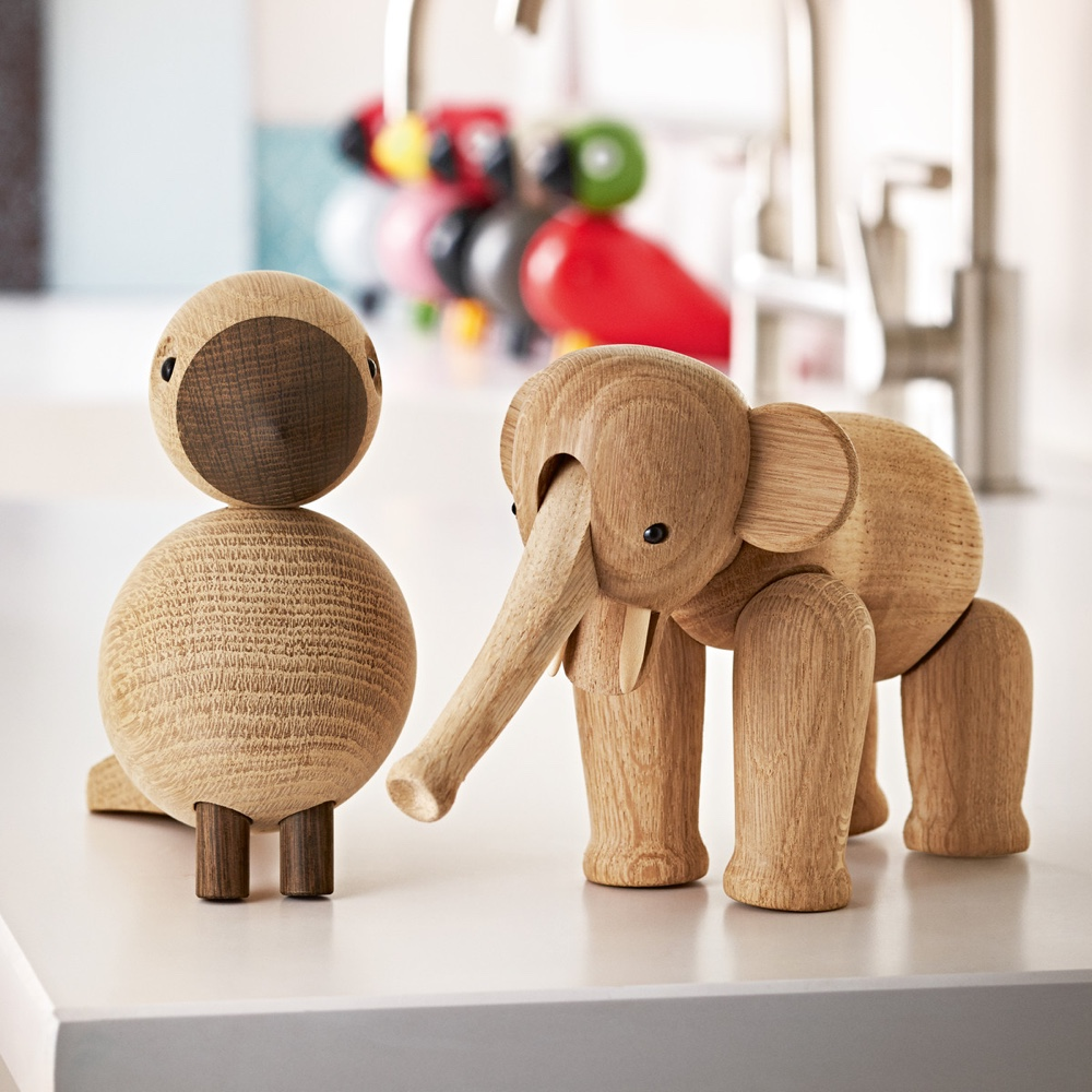 Kay Bojesen Songbird Alfred and Wooden Elephant