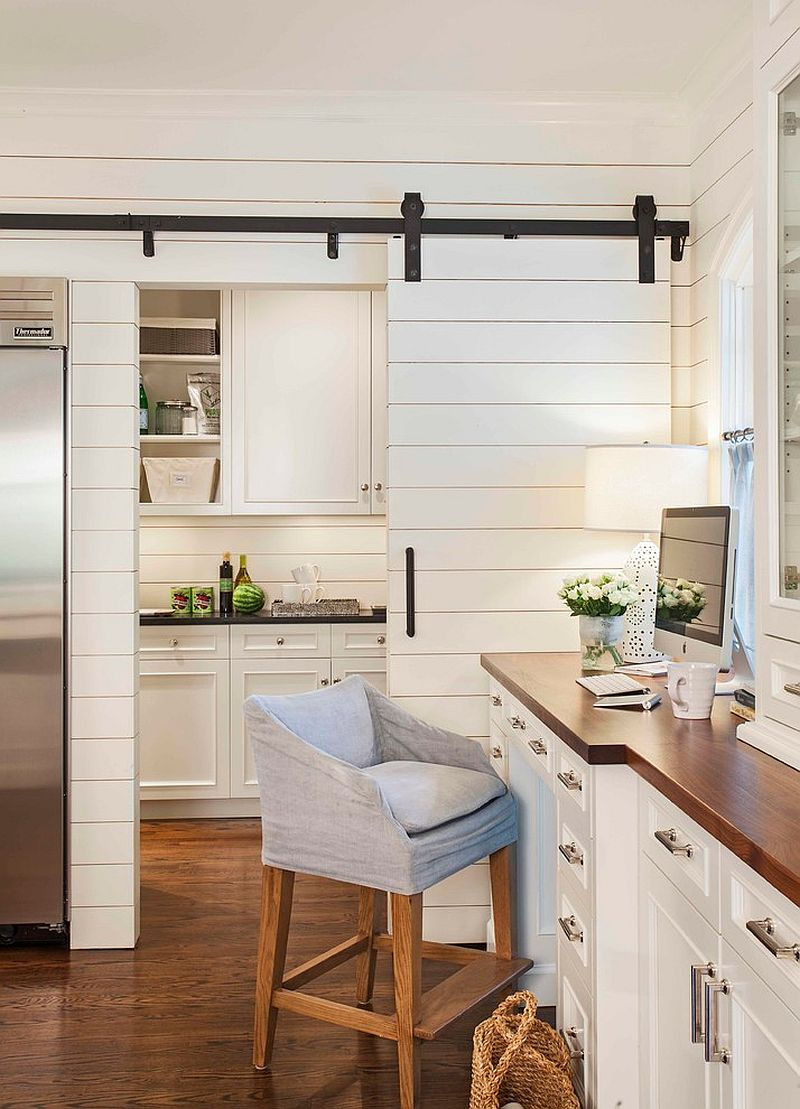 25 trendy kitchens that unleash the allure of sliding barn for Barn doors for home office