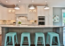 Kitchen with stunning light turquoise bar stools 217x155 18 Brilliant Kitchen Bar Stools That Add a Serious Pop of Color