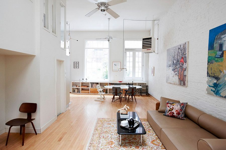 Large and cheerful living area of the classic TriBeCa loft in New York City