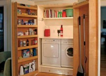 Large closet hiding laundry with extra functional doors for extra storage