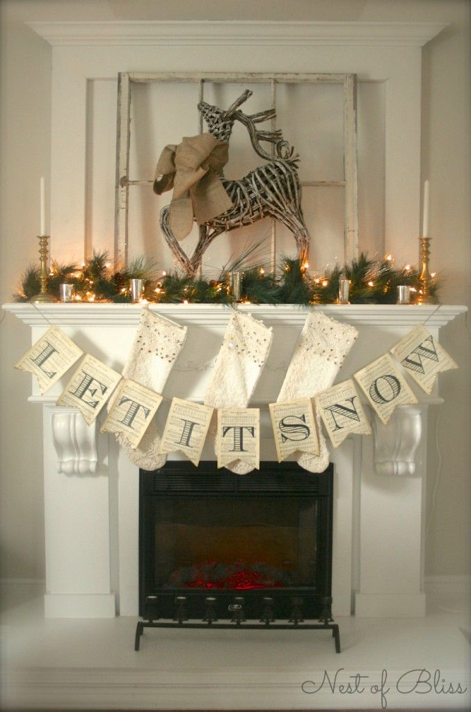 Let It Snow holiday banner on music sheets