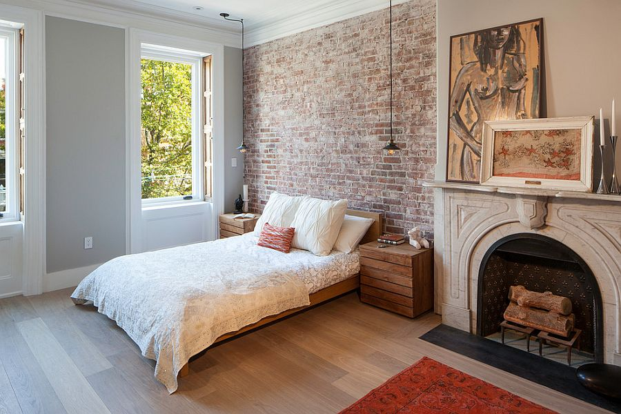 50 Delightful and Cozy Bedrooms with Brick Walls   Lighting and bedside tables reflect an industrial style  Design  Robert  Jenny Design . Industrial Style Bedroom. Home Design Ideas
