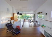 Living area kitchen dining space and family zone connected as one inside the lovely Aussie home 217x155 Series of Internal Steps Maximizes Space Inside Suburban Aussie Home