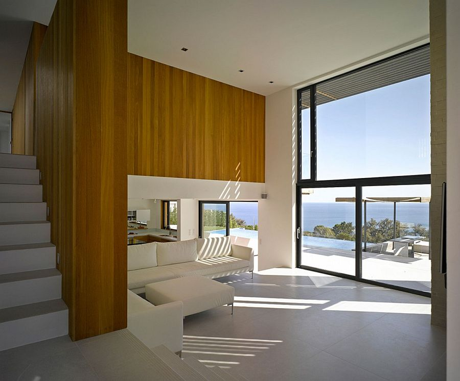 Living area offers unabated views of the distant bay