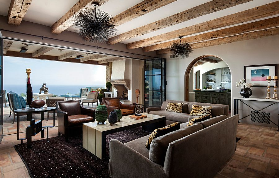 Living opens up towards the deck and the ocean views outside