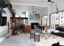Living room of home in Novena with curated decor and art collection