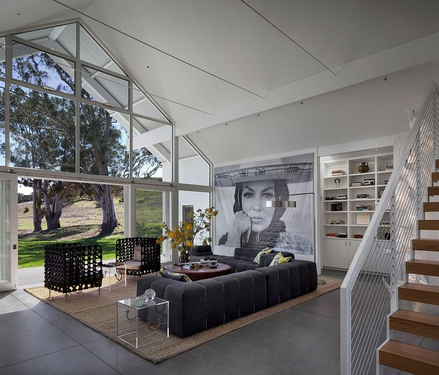 Living room of the Hupomone Ranch with a view of the scenic landscape