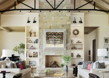 Living room spotlights on ceiling trusses