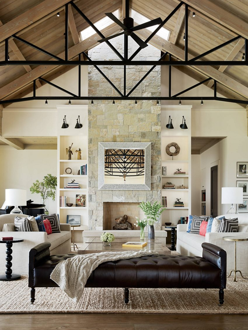 Living room spotlights on ceiling trusses