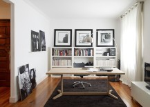 Lovely desk brings warmth of wood to the contemporary home office in black and white