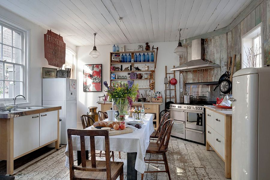 Lovely kitchen with shabby chic style and a small dining area [From: Bruce Hemming Photography]