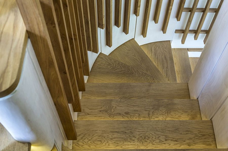 Lovely use of LED lighting strips to illuminate the wooden staircase