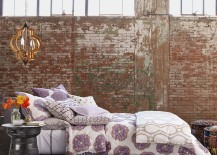 Lovely way to style a modern bedroom with exposed brick walls