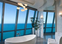 Luxurious contemporary bathroom of posh Miami residence with ocean view