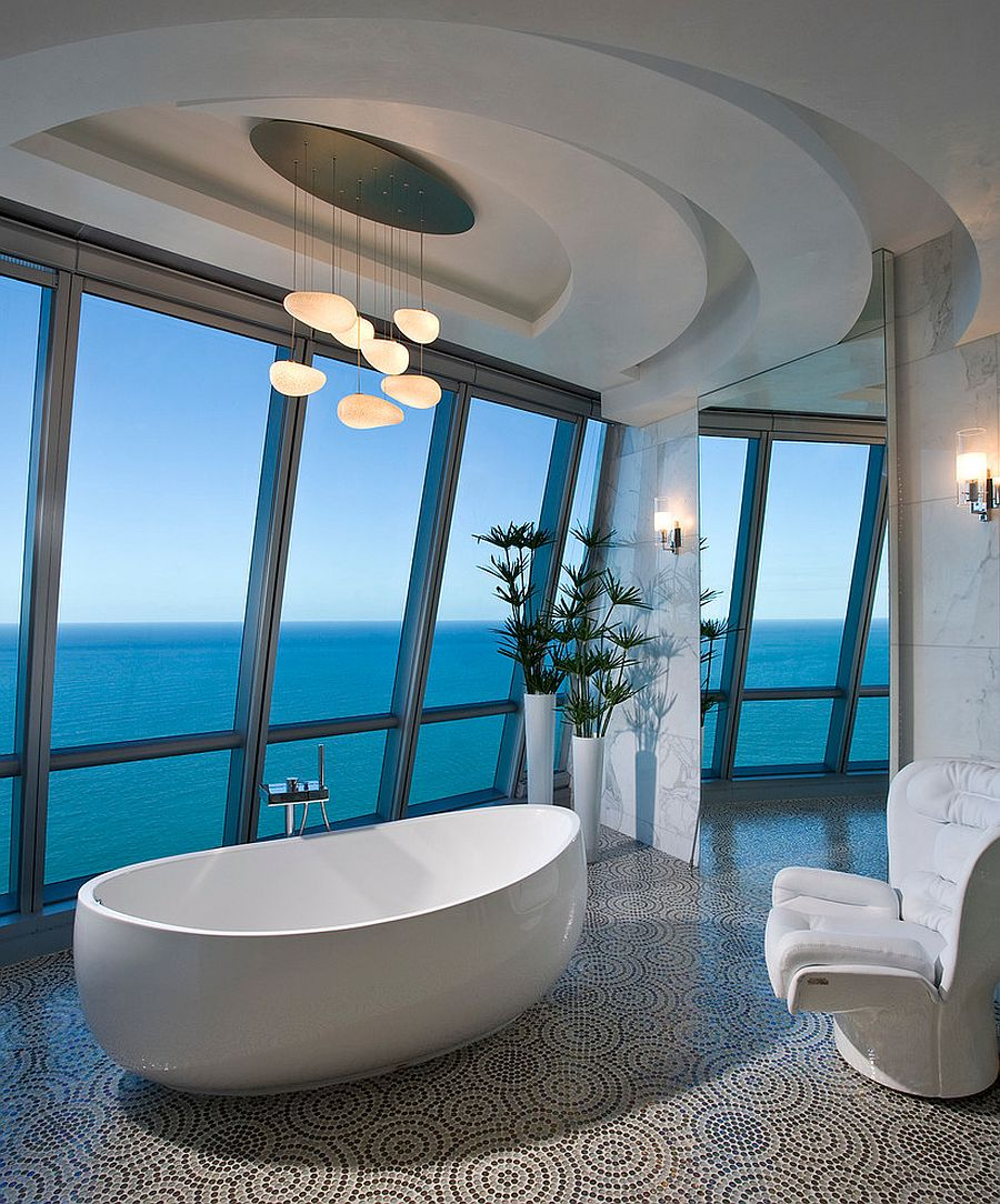 Luxurious contemporary bathroom of posh Miami residence with ocean view [Design: Pfuner Design]