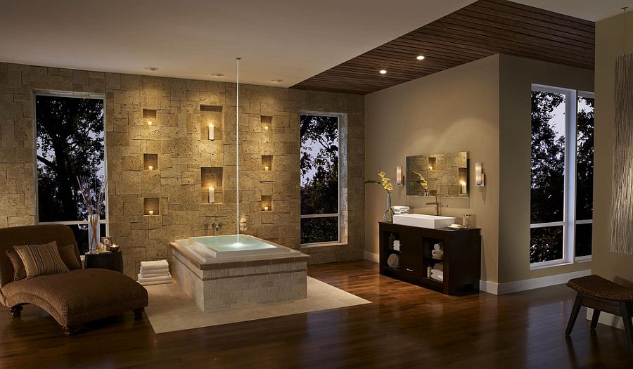 View in gallery Luxurious master bathroom brings the comfort of spa home  Design  Eldorado Stone. 30 Exquisite and Inspired Bathrooms with Stone Walls