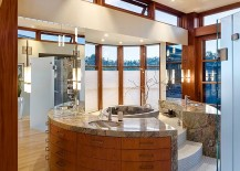 Luxurious modern bathroom design with a soaking tub