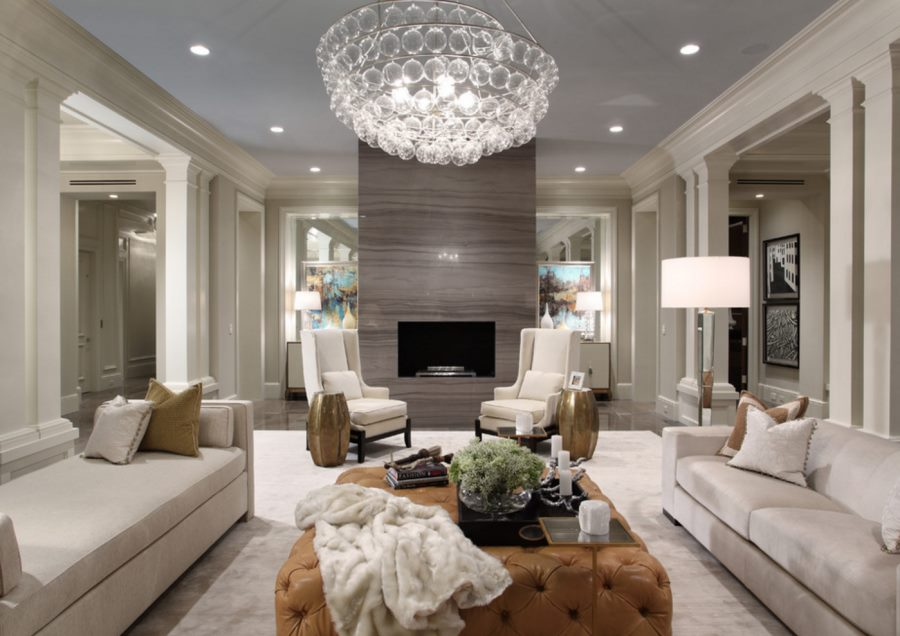 10 beautiful rooms with marble fireplaces for Glam modern living room