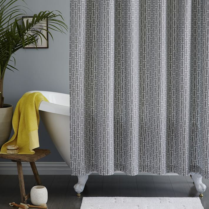 Midcentury-style shower curtain from West Elm