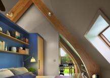 Modern bedroom with wooden beam spotlights