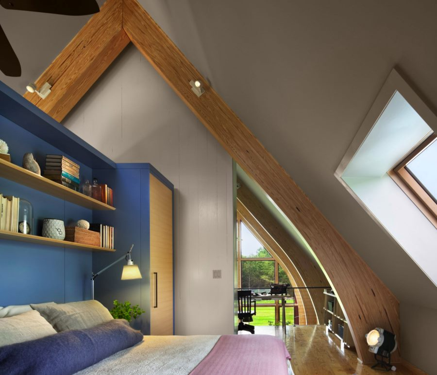 Modern bedroom with wooden beam spotlights