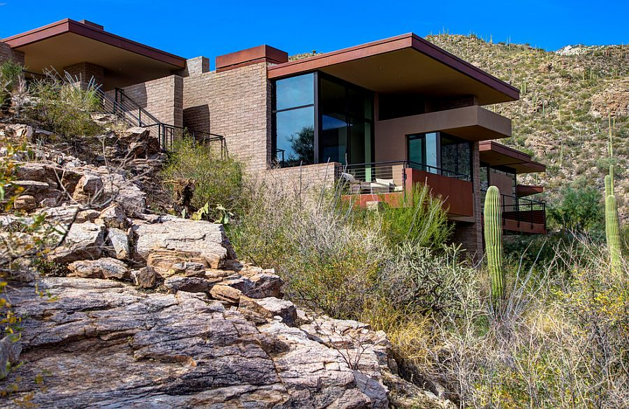 Modern exterior of the elegant mountain home in Tucson, Arizona