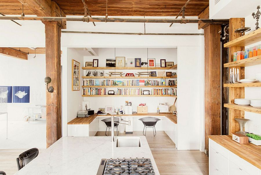 Modern industrial loft home with built-in office spaces