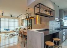 Modern kitchen in gray with delightful backsplash