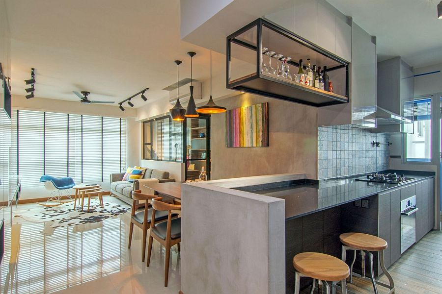 Kitchen Backsplash Singapore home in singapore: space-savvy interior laced with industrial elements