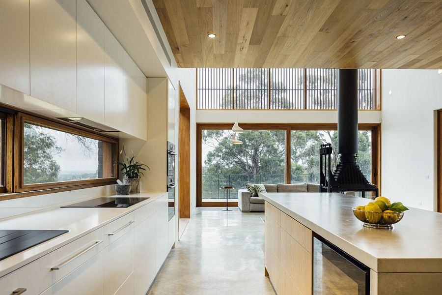 Modern kitchen with a view of the lovely landscape outside