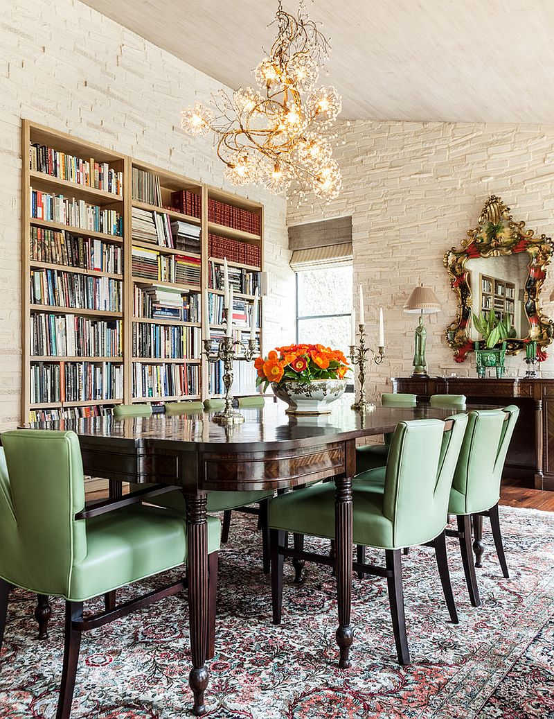 Modern Mediterranean dining room with large bookshelves [Design: Stocker Hoesterey Montenegro]
