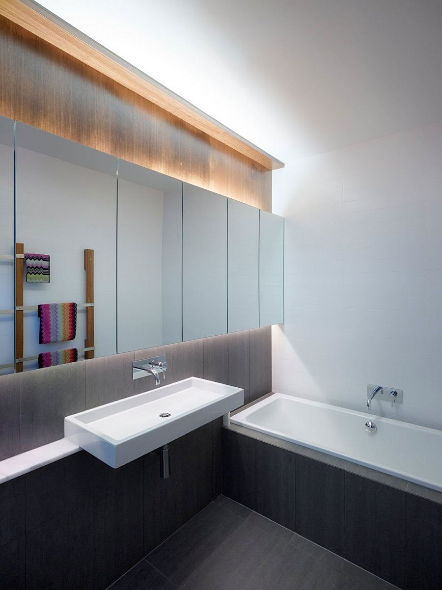 Modern minimal bathroom in gray and white