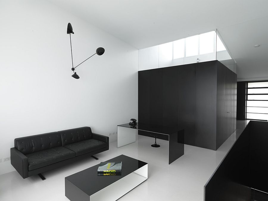 ... Modern Minimal Home Office In Black And White [Design: Ian Moore  Architects]