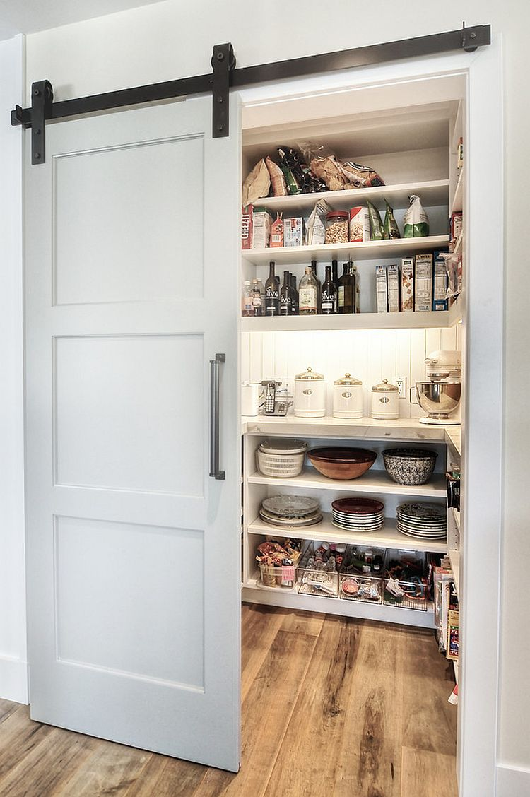 Modern pantry design with an elegant sliding barn door for Sliding pantry doors