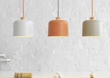 Modern porcelain lights with wooden fuses