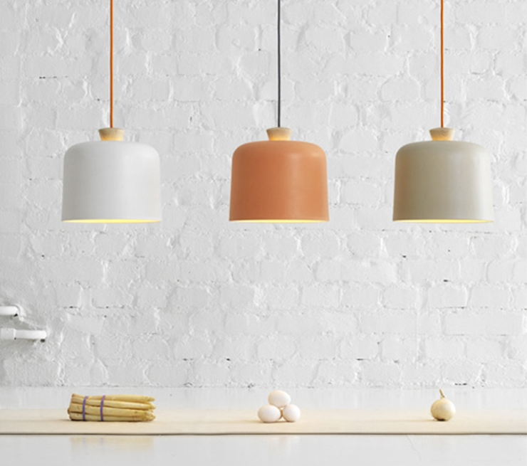 Modern porcelain lights with wooden fuses