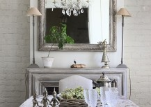 Monochromatic look works well in the shabby chic dining space