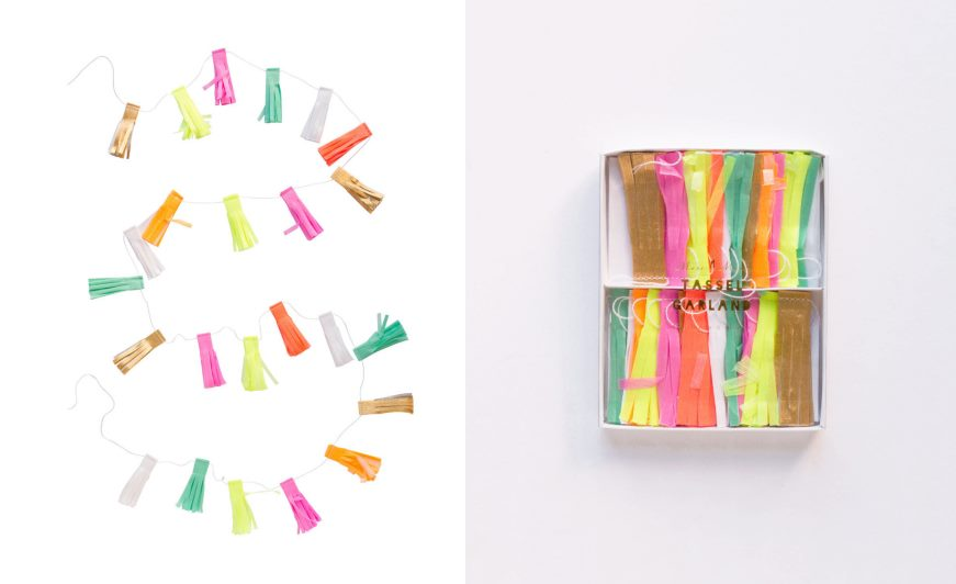 Neon tassel garland from the Oh Happy Day shop