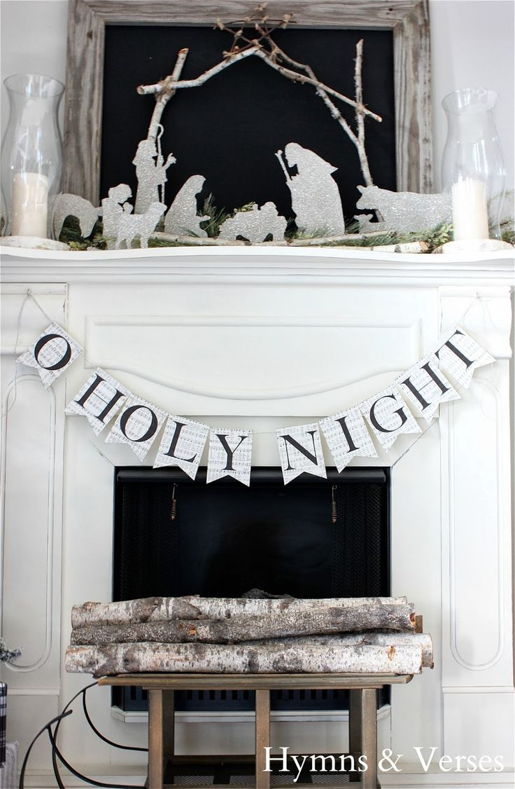 O Holy Night banner over fireplace