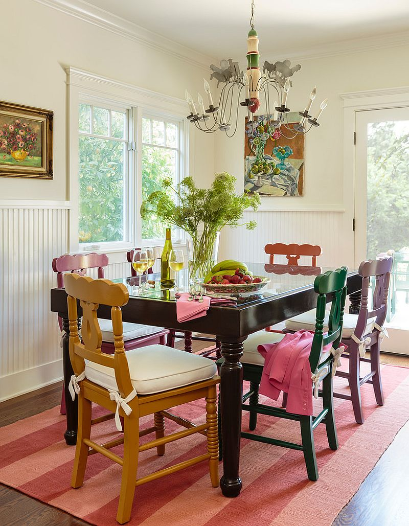 Old painted chairs and table give the dining room a classical element [Design: Alison Kandler Interior Design]