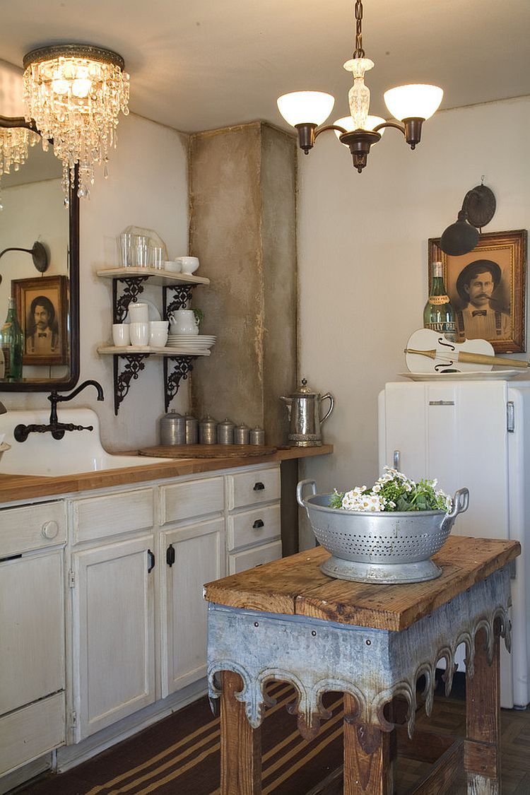 50 Fabulous Shabby Chic Kitchens That Bowl You Over: Old Table Turned Into A Tiny Island For The Small Kitchen