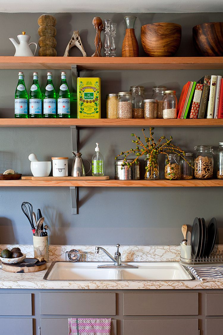 50 fabulous shabby chic kitchens that bowl you over for Small kitchen shelves