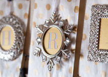 Ornament frames used to create a holiday banner