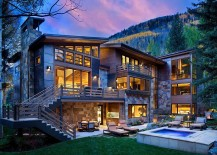 Outdoor Jacuzzi and sitting area of the awesome mountain retreat in Vail