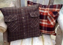 Outdoor accent pillows made from old flannel shirts