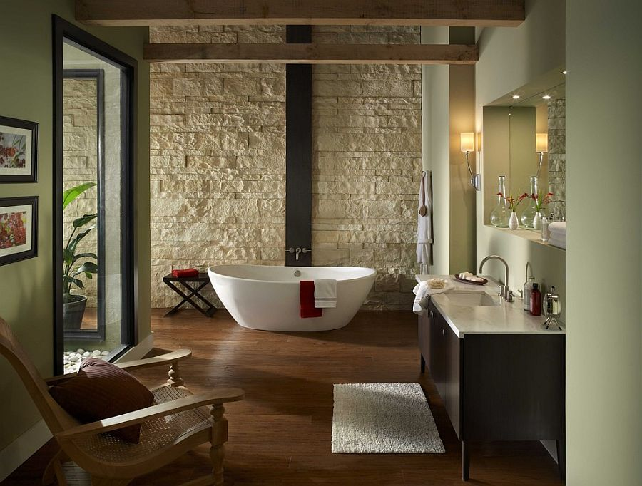 Oyster Cut Coarse Stone shapes the fabulous backdrop in this Zen-styled modern bathroom [Design: Eldorado Stone]